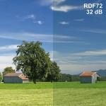 Raamfolie RDF72-premium Demping 32dB >99,94% afscherming. Prijs per strekkende meter  72% lichtdoorlaat